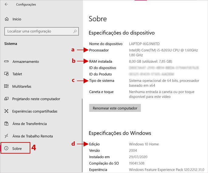 Especificações básicas do PC com Windows 10