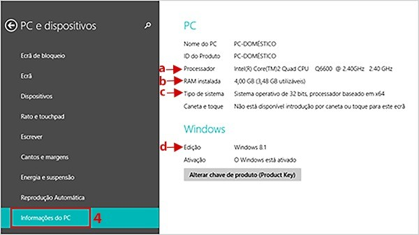 Conifgurações do PC no Windows 8