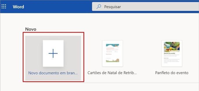 Opção de criar novo documento no Word Online do Office na Web