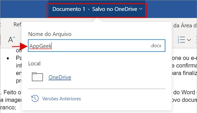Renomear um arquivo no Word Online do Office na Web