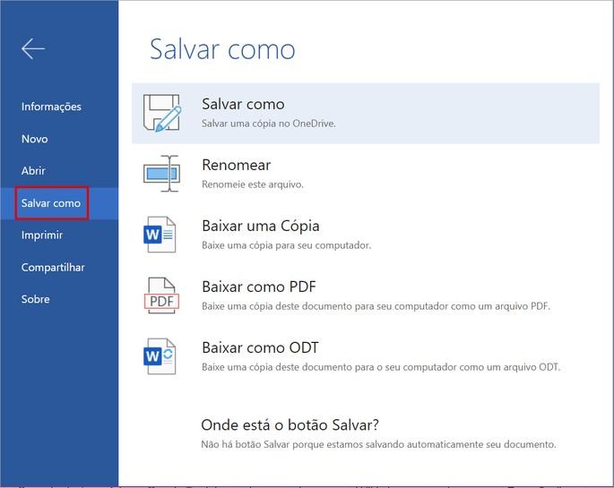 opção de Salvar como no Word Online