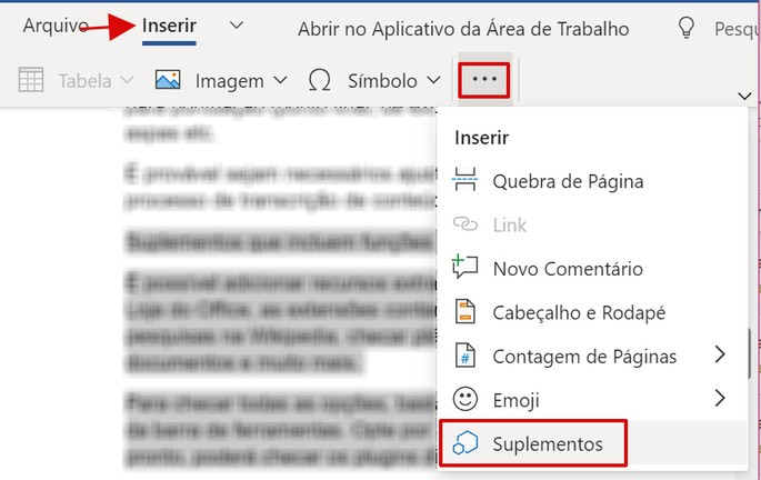 Opção de Suplementos do Word Online no office na Web