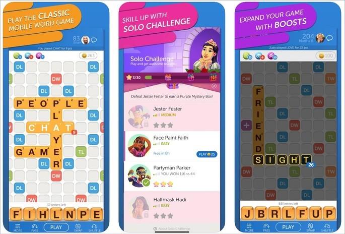 Imagem de divulgação do app palavras Words with Friends