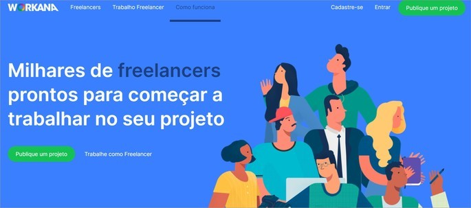 Página inicial do site de vagas para profissionais freelancers Workana