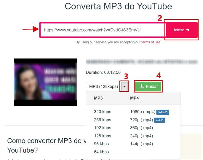 Captura de tela do site y2mate, para converter vídeo do YouTube em  mp3