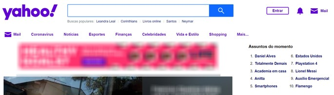 Página inicial do Yahoo