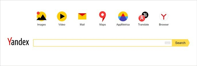 P+agina inicial da ferramenta de busca Yandex