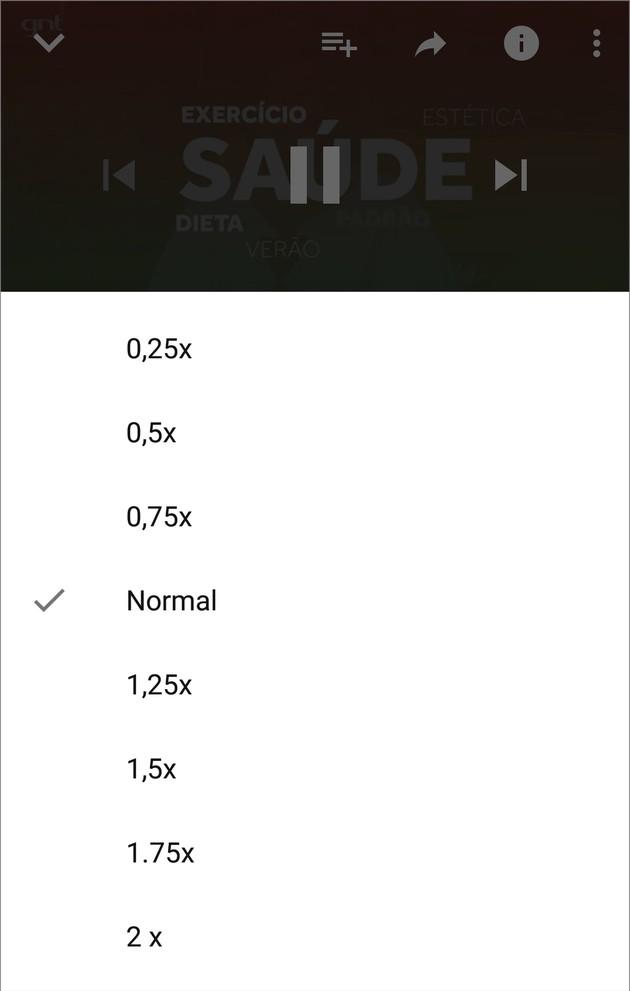 Acelerar e reduzir a velocidade do YouTube no celular