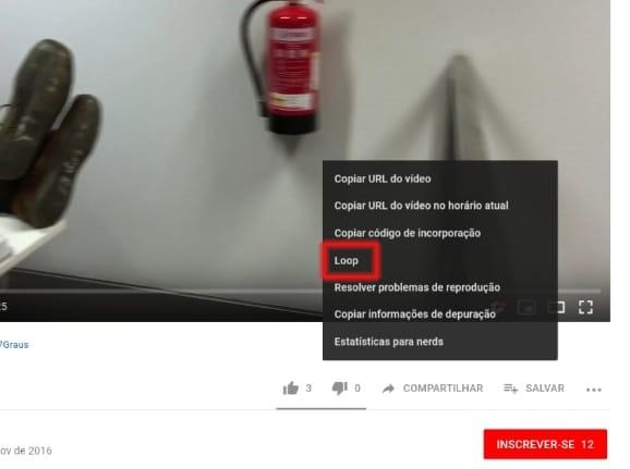 Reproduzir vídeo do youtube em loop no celular