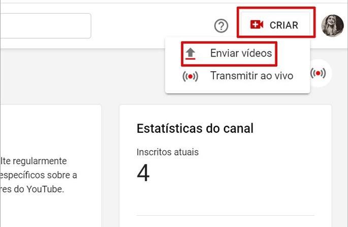 Botão para subir vídeo no YouTube Studio