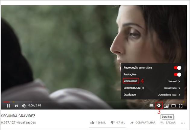 Acelerar e reduzir a velocidade do YouTube no PC