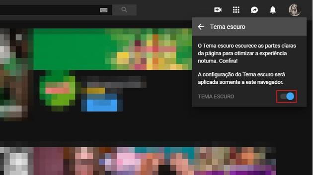 Modo escuro YouTube