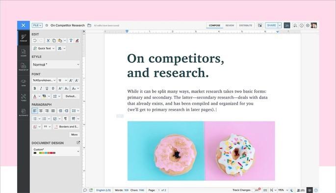 Interface do editor de texto online Zoho Writer, com texto e imagem de uma rosquinha